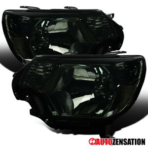For 2012 2015 Toyota Tacoma Smoke Lens Headlights Head Lamps Pair Left Right