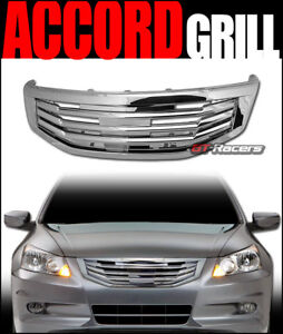 For 2011 2012 Accord 4 Door Chrome Mu Style Front Hood Bumper Grill Grille Guard