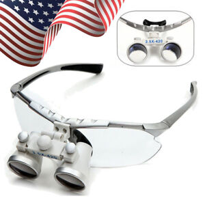 Usa Dental Surgical Medical Binocular Loupes 3 5x 420mm Optical Glass Magnifier