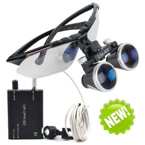 Dentist Dental Surgical Binocular Loupes 2 5x420mm Magnifier Led Head Light Lamp