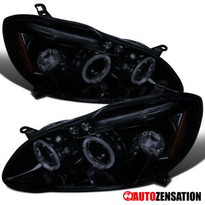 For 2003 2008 Toyota Corolla Glossy Black Smoke Led Halo Projector Headlights