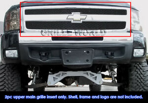 Fits 2007 2011 Chevy Silverado 1500 Stainless Steel Black X Mesh Grille Inserts