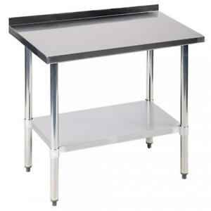 24 x36 Stainless Steel Work Table W Backsplash Kitchen Restaurant Table Eb