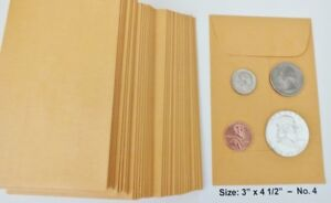 500 New Small 3 X 4 1 2 Kraft Coin Envelopes 4 7 6x11 4cm coins Not Included