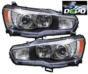 Fit 08 11 Mitsubishi Lancer Black Projector Head Light Evolution Evo X Halogen