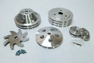 Small Block Chevy 2 3 Groove Aluminum Pulley Kit For Short Pump 283 327 350