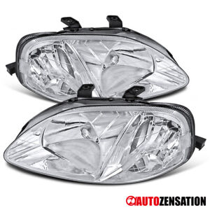 For 1999 2000 Honda Civic 2 3 4dr Clear Headlights Head Lamps Left Right Pair