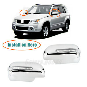 Chrome Side Led Light Mirror Covers Trims For 2006 2013 Suzuki Grand Vitara Suv