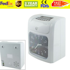 usa employee Analogue Time Recorder Time Clock Lcd W card Monthly weekly