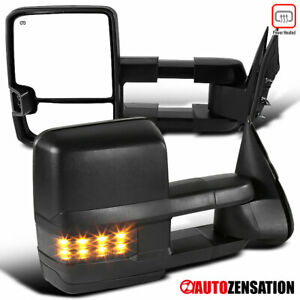For 1999 2002 Silverado Sierra Black Power Heated Tow Mirrors Smoke Led Signal