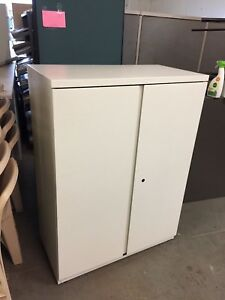 Metal Storage Cabinet By Haworth Office Furniture In White W Lock