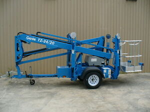2018 Genie Tz 34 20 Towable Trailer Mounted Aerial Man Boom Lift Scissor Jlg