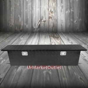 69 x12 x16 5 Black Pickup trailer Trunk Bed Utility Storage Flat Tool Box lock