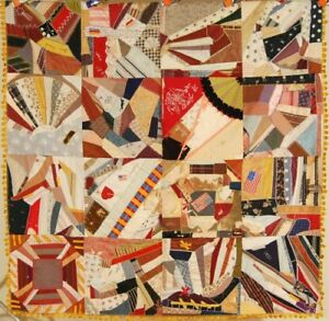 Elegant Vintage Victorian Silk Crazy Antique Quilt American Flags