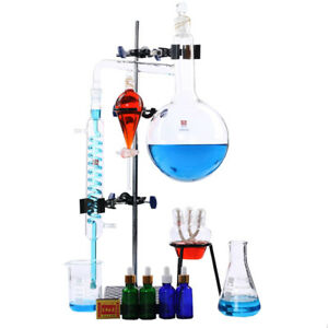 100ml 2000ml Lab Essential Oil Distillation Apparatus Water Purifier Glassware
