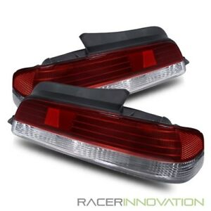 For 97 01 Honda Prelude Jdm Red crystal Clear Rear Tail Lights Lamps
