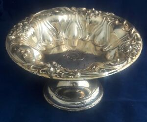 C19000 Meriden Britannia Repousse Sterling Silver Compote Bowl Lily Pattern