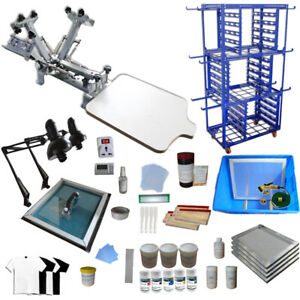 New 4 Color 1 Station Screen Printing Kit Screen Printer Screen Printing Press