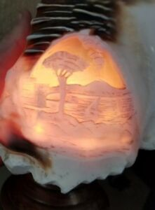 Antique Hand Carved Carved Cameo Sea Sailboat Night Light Shell Lamp