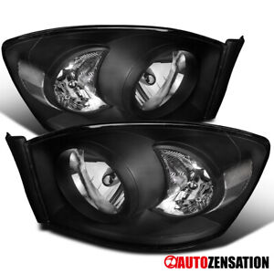 For 2006 2008 Dodge Ram 1500 2006 2009 Ram 2500 3500 Pair Black Headlights