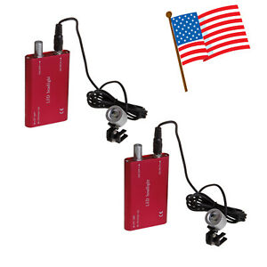 2 usa New Dental Led Head Light Lamp For 3 5x Magnifier Loupes Glasses Red Color