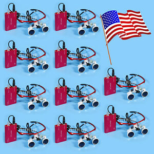 10pcs Dental Surgical Binocular 3 5x Loupes Glasses Magnifier Led Head Light Red