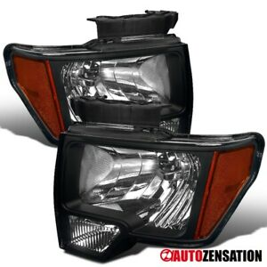 For 2009 2014 Ford F150 Pair Black Clear Lens Headlights Left Right Lamps Amber