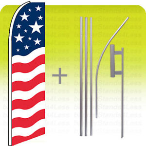 Usa Us American Flag Swooper Flag 15 Kit Feather Flutter Banner B2