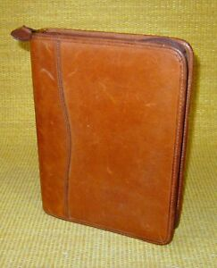 Classic desk 1 Rings Brown Distressed Leather Day timer Zip Planner binder