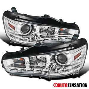 For 2008 2015 Mitsubishi Lancer Evo 10 Smd Led Strip Clear Projector Headlights