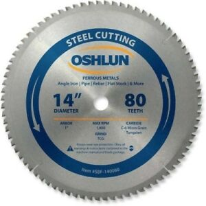 Oshlun Sbf 140080 14 inch 80 Tooth Tcg Saw Blade With 1 Arbor For Mild Steel