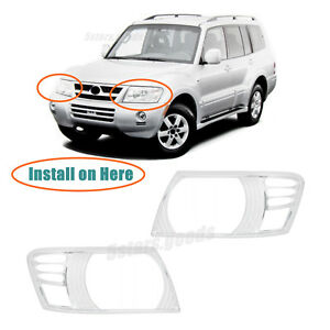 Chrome Front Headlight Molding Covers Trims For 2001 2006 Mitsubishi Montero Suv