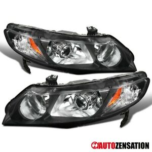 For 2006 2011 Honda Civic 4dr retrofit Black Projector Headlights Replacement