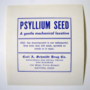Psyllium Seed Laxative Antique Pharmacy Drug Store Medicine Bottle Label New