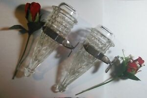 Vintage Auto Bud Flower Vases W Brackets Cut Glass Bomba Low Low Model A Model T