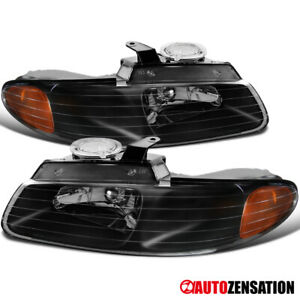 96 00 Dodge Grand Caravan Chrysler Town Country Black Crystal Headlights amber