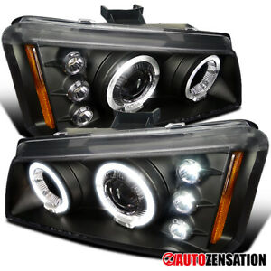 For 2002 2006 Chevy Avalanche Silverado Black Led Drl Halo Projector Headlights