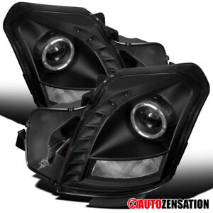 For 2003 2007 Cadillac Cts Smd Led Drl Strip Black Halo Projector Headlights