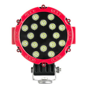 Red 7 51w Led Work Light Pods Suv Truck 4wd For Jeep Reverse Fog Offroad Round