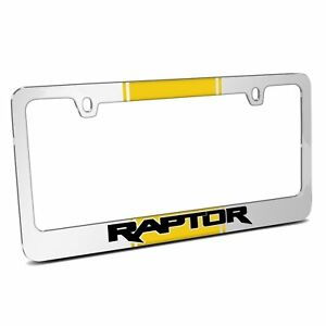 Yellow Racing Stripe Mirror Chrome Metal License Plate Frame Ford F 150 Raptor