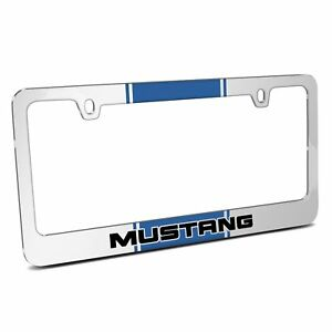 Blue Racing Stripe Chrome Metal License Plate Frame Ford Mustang