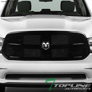 Glossy Black Mesh Front Bumper Grill Grille Guard For 2013 2017 Dodge Ram 1500