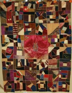 Elegant Vintage 1890 S Victorian Silk Crazy Antique Quilt Hand Painted Blocks