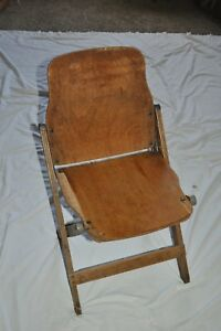 Vintage Wooden Solid Wood Veneer Back Seat Folding Chair School Church Deck