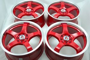 17 Red Rims Wheels Tires Golf Tiburon Sonata Corolla Forenza Civic 4x100 4x114 3