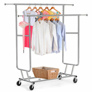 Commercial Double Bar Clothing Garment Rolling Collapsible Rack Hanger Chrome