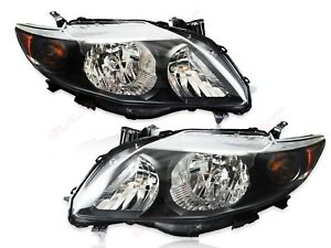 Set Of Pair Oe Style Black Housing Headlights For 2009 2010 Toyota Corolla