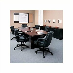 Global Total Office Boat Shaped 8ft Conference Table With Slab Base Mahogany