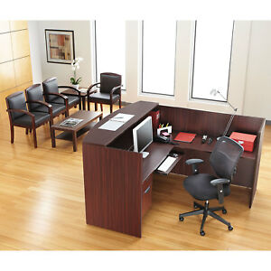 Single Pedestal Reversible L Shape Laminate Reception Desk In Mahogany Finish