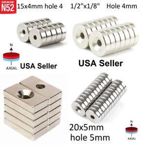 10 100 All Size Countersunk Ring Disc Block Magnets 3mm 4mm 5mm Hole Wholesale